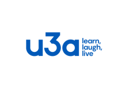 u3a Logo in blue learn, laugh, live