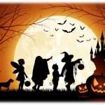 Halloween Trick-or-Treaters in silhouette